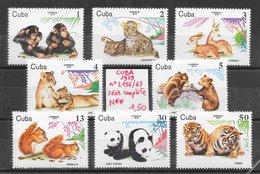 Mammifère - Cuba N°2156 à 2163 Chimpanzé écureuil Faon Félin Léopard Lion Ours Panthère Singe Tigre 1979 ** - Non Classificati