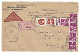 ROSHEIM Lettre Recommandée Contre Remboursement R6708 - 2.3.1959 - Marcophilie (Lettres)