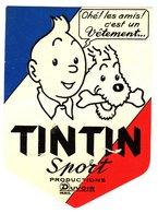 Tintin, Vêtement De Sport, étiquette Originale C.1960 - Pubblicitari