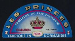 étiquette Fromage Demi 1/2 Camembert  Normandie 50%mg Claudel Pont Hebert Manche Les Princes - Fromage