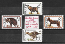 Mammifère - Rhodésie Du Sud N°274 à 277 Antilope Chien Félin Guépard Hyène 1976 ** - Non Classificati