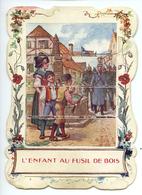 Chromo à Système Thème Militaria - L'enfant Au Fusil De Bois - Anti-allemand - Guerre 14/18 - Vieux Papiers