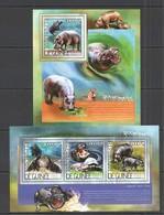 QQ505 2014 GUINEE GUINEA FAUNA WILD ANIMALS HIPPOPOTAMES 1KB+1BL MNH - Stamps