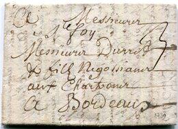 """Lettre De Ste Foy Du 19/3/1730  Pour Bordeaux Taxée à 3 Sols Origine: """" Ste Foy"""" Man :L1 . - Marcophilie (Lettres)"""