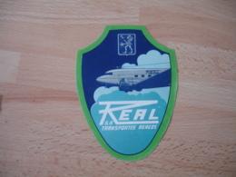 Real Transportes Aereos   Avion Aviateur Etiquette Bagage - Etiquettes D'hotels
