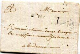 """Lettre De Ste Foy Du 4/5/1748  Taxée à 3 Sols Pour Bordeaux Origine: L2  """" Ste Foy"""" - Marcophilie (Lettres)"""