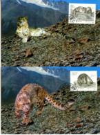 CHINA  1990  Snow Leopard   Max Card   MICHEL #2311-2312 - 1949 - ... People's Republic