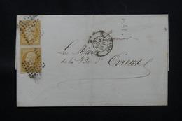 FRANCE - Lettre De Paris Pour Evreux En 1857, Affranchissement Napoléon 10ct X 2, Losange K - L 59705 - 1849-1876: Classic Period