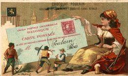 CHROMO CHOCOLAT POULAIN LETTRE TIMBRE BELGIQUE - Poulain