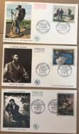 Lot De 3 FDC France - La Peinture Française 1962 - Manet Courbet Gericault - 1960-1969