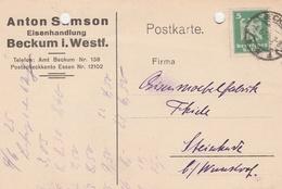 Deutsches Reich Firmenkarte Anton Samson Eisenhandlung Beckum In Westfalen 1925 Lk Warendorf - Deutschland