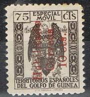 Sello Especial Movil  75 Cts, Habilitado Rojo Correos 10 Cts , GUINEA ESPAÑOLA, * - Guinea Española