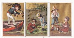 Chromo  AU PETIT PARIS  à Lille    Lot De 3    Devinettes   Marin, Jardin, Enfants     10 X 6.5 Cm - Autres