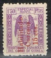 Sello Especial Movil  1,50 Pts, Habilitado Rojo Correos 15 Cts , GUINEA ESPAÑOLA, * - Guinea Española