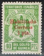 Sello Impuesto Contratos 40 Pts, Habilitado Rojo Correos 1 Pta , GUINEA ESPAÑOLA, * - Guinea Española