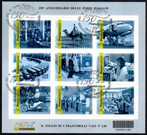 ITALIA ROMA FILATELICO 2012 - 150° ANNIVERSARIO DELLE POSTE ITALIANE - FOGLIETTO FRANCOBOLLI ANNULLATO 1° GIORNO - 6. 1946-.. Repubblica