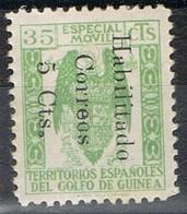 Sello Especial Movil  35 Cts Verde, Habilitado Correos 5 Cts , GUINEA ESPAÑOLA, * - Guinea Española
