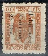 Sello Especial Movil  60 Cts Naranja, Habilitado Correos 25 Cts , GUINEA ESPAÑOLA, * - Guinea Española
