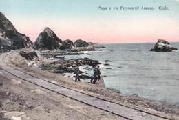 Tarjeta Postal.  Arauco  (Chili Chile) Rara  Playa Y Via Ferrocarril       Ed Juan Sepulveda   236 - Chili