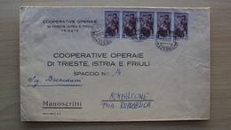 STORIA POSTALE LETTERA GRANDE MANOSCRITTI CON STRISCIA DA LIRE 6 AMG FTT AMG-FTT ITALIA AL LAVORO TRIESTE A - 7. Trieste