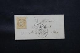 FRANCE - Lettre De Rouen Pour Déville Les Rouen Affranchissement Napoléon 10ct GC 3219, Cachet  BM - L 59715 - 1849-1876: Période Classique