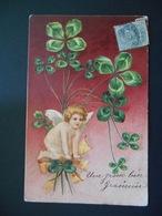 Angelot Sur Bouquet De Trèfles, Ruban Jaune - Gaufrée - Angels