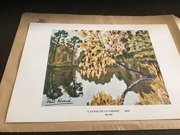Dessin Paul Ricard 1972 L étang De La Voisine Sur Carton En Parfait état Paul Ricard - Lithographies