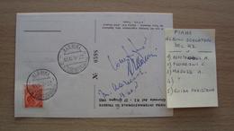 STORIA POSTALE CARTOLINA ILLUSTRATA 1955 TRIESTE GIORNATA DEL K2 +ANNULLO E FIRMA SCALATORI TRA CUI ACHILLE COMPAGNONI - 6. 1946-.. Republic