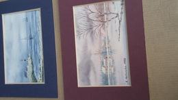 2 Petites Aquarelles De Etienne Hellinckx ( Saintes - Tubize )  (signées Sur Le Dos ) - Aquarelles