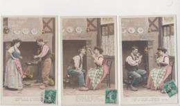27954 Lot 3 Cpa Recette Chandeleur Crêpe Galette Cuisine Amoureux Couple Femme Lover - Sazerac Paris 3771 - Recettes (cuisine)