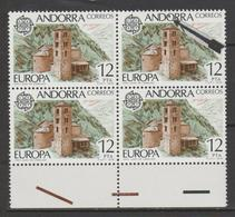 ANDORRA C. ESPAÑOL VARIEDAD BLOQUE DE 4 SELLOS UNO CON PUNTO NEGRO DENTRO DE LA O (K.2) - Andorra Española