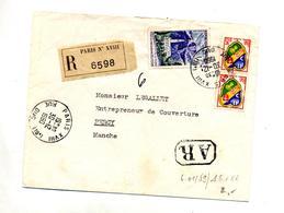 Lettre Recommandée Paris XVIII Sur Reunion Alger - Marcophilie (Lettres)