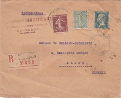Affranchissement Tricolore Sur Lettre Recommandée BORDEAUX BOURSE C 1926 Pour Alger Algérie Voir Description - France