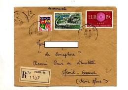 Lettre Recommandée Paris 68 Sur Europa Cognac - Marcophilie (Lettres)