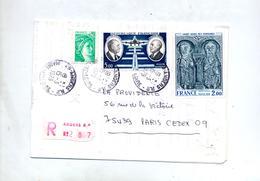 Lettre Recommandée Angers Sur Saint Genis Daurat - Marcophilie (Lettres)