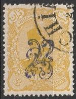 Perse Iran 1899 N° 99 Nasser-Edin Shah Qajar Estampé à La Main En Violet  (G10) - Iran
