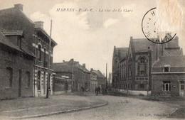 CPA - 62 - HARNES - La Rue De La Gare - Harnes