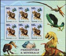 NORTH KOREA 2006 BELGICA International Stamp Exhibition Prehistory & Minerals Dinosaurs Prehistoric Animals Fauna MNH - Vor- U. Frühgeschichte