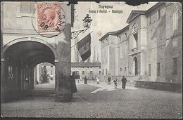 Soragna Rocca E Portici  Municipie    CPA 1908 Quelques Manques Sur Le Haut - Parma