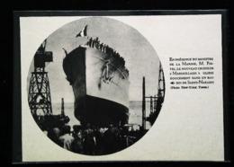 """Navire De Guerre - Lancement Croiseur  """"MARSEILLAISE"""" à Saint Nazaire - Coupure De Presse (encadré Photo) De 1935 - Schiffe"""