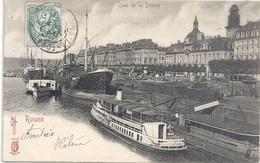 ROUEN .  QUAI DE LA BOURSE + NOMBREUX BATEAUX . CARTE AFFR SUR RECTO LE 26 AVRIL 1904 - Rouen
