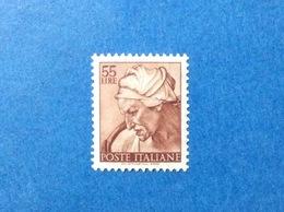 1961 ITALIA MICHELANGIOLESCA 55 LIRE FRANCOBOLLO LINGUELLATO ITALY STAMP MLH* - 1961-70: Mint/hinged