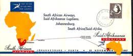 Australie. 1er Vol  South African Airways  Perth > Johannesburg  27/11/57   Eustis 1381 - Erst- U. Sonderflugbriefe