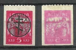 Russia LETTLAND Latvia 1919 Michel 20 Westarmee Western Army * Perforated 9 3/4 From Upper Margin + Set Off Variety - West Army