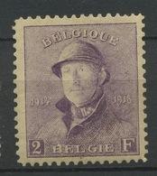 """176 ** 2F Roi Albert """"CASQUÊ"""" **. Cote 1050- Euros.  Bel Exemplaire Bien Centré - 1919-1920 Roi Casqué"""