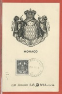 ARMOIRIES BLASONS MONACO CARTE MAXIMUM DE 1943 - Buste