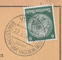 Deutsches Reich Karte Mit Tagesstempel Vellahn über Brahlstorf Amt Hagenow 1934 Lk Ludwigslust Parchim - Deutschland