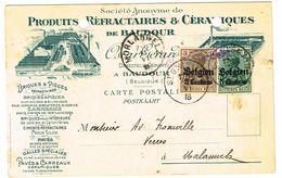 OC 1 ET OC 2  Sur Carte Postale Décorée De ST GHISLAIN Vers Morlanwelz - Guerre 14-18