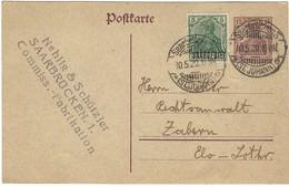 """SAARBRÜCKEN 3 (ST. JOHANN) E - Ganzsache Entier Postal Germania 15pf + Germania 5Pf """"SAARGEBIET"""" - 10.5.1920 - Altri"""