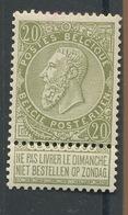 20c. N°59 * TRES. Légère Charnière - 1893-1900 Thin Beard